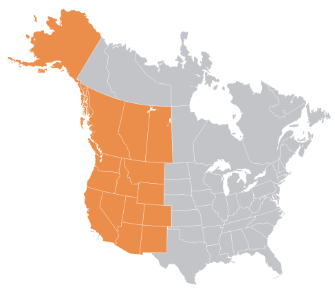 west north america